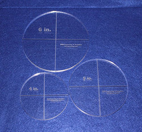"Circle Template Actual Size 3 Piece Set. 4"",5"",6"" - Clear ~3/8"" Thick"