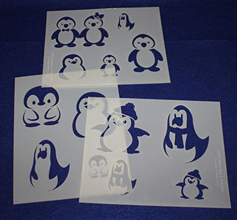 "Cartoon Themed Penguin Stencils Mylar 3 Pieces of 14 Mil 8"" X 10"" - Painting /Crafts/ Templates"