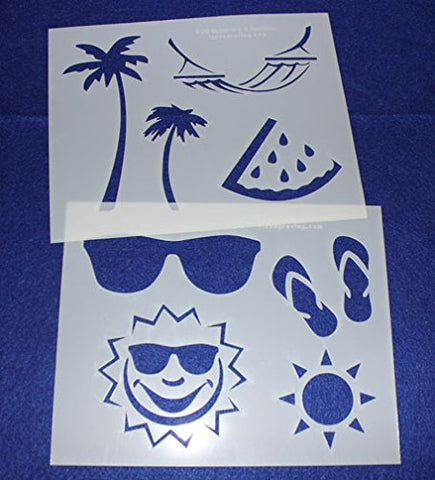 "Summer Stencils -Mylar 2 Pieces of 14 Mil 8"" X 10""- Painting /Crafts/ Templates"