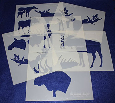 "Moose and Moose Head Stencils -Mylar 6 Pieces of 14 Mil 8"" X 10"" - Painting /Crafts/ Templates"