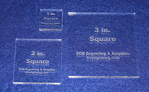 "Square Templates. 3 Piece Set 1"", 2"", 3"" - No Seam -Clear ~1/4"""