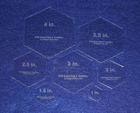 "Quilt Templates-7 Piece Hexagon Set No Seam - 1""-4"" Clear Acrylic 1/8"""