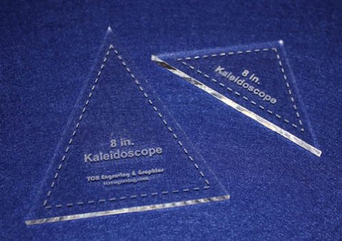 "2 Pc Kaleidoscope Set 8"" ~1/4"" for 8"" Finished Square W/seam Allowance - Template"