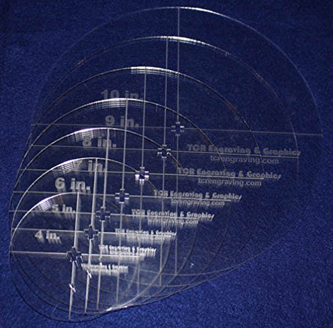 "Circle Template 7 Piece Set W/crosses and Guideline Hole. 4"",5"",6"",7"",8"",9"",10"" - Clear 1/8"" Thick"