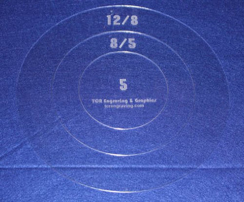 "Common Pillow/Fabric Templates. 3 Piece Round Set 1/8"" Acrylic"