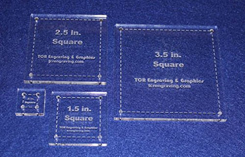 "Square Half Size Templates. .5"", 1.5"", 2.5"", 3.5"" - Clear ~1/4"""