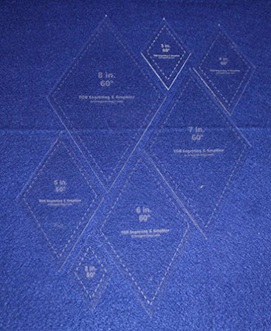 "Diamond Templates 2"", 3"", 4"" 5"", 6"", 7"", 8"" - Clear 1/8"" 60 Degree"