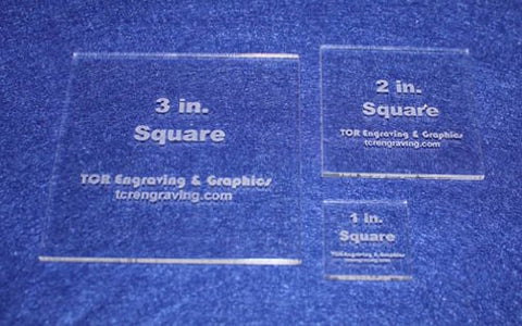 "Square Templates. 1"", 2"", 3"". - Clear 1/8"" No Seam - Actual Size"