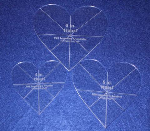 "Heart Template 3 Piece Set. 4"",5"",6"" - Clear 1/8"" Thick w/ guidelines"