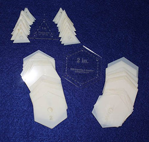 "Mylar 2"" Hexagon & 1"" Equilateral Triangle 102 Piece Set - Quilting / Sewing Templates"