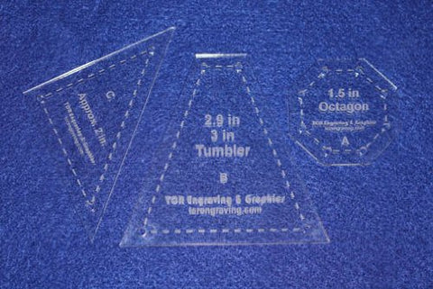 3 Piece Set Octagon Quilt Templates - With Seam Allowance -Clear 1/8""