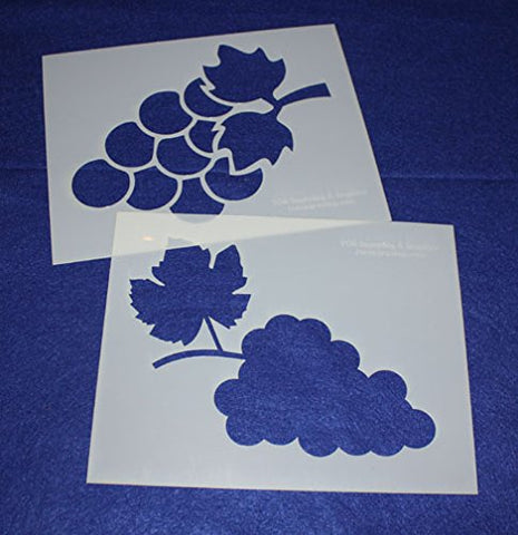"Large Grapes 2 Piece Stencil Set 14 Mil 8"" X 10"" Painting /Crafts/ Templates"