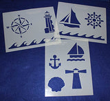 "Mylar 3 Pieces of 14 Mil 8"" X 10"" Nautical Stencils- Painting /Crafts/ Templates"
