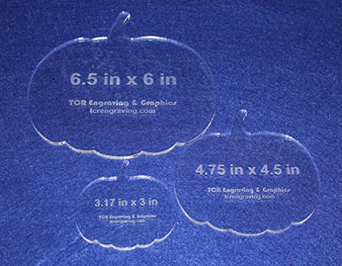 "3 Piece Pumpkin Quilting Template Set ~1/4"" Thick - Acrylic - Long Arm / Hand"