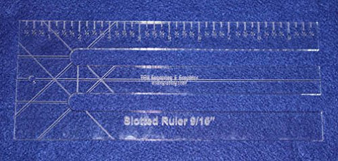 "10"" Slotted-Ruler - 9/16"" Slots - Acrylic ~1/4"" thick. Quilting/Sewing/Template"