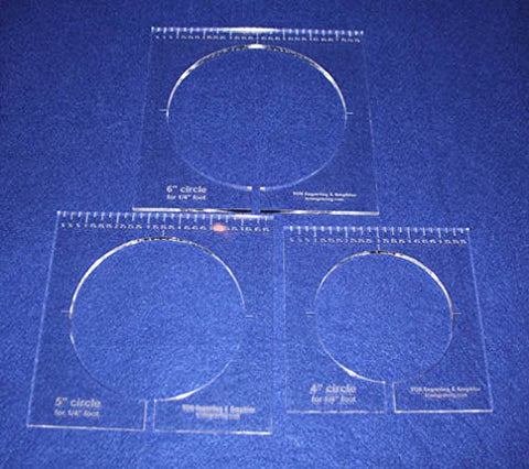 "3 Piece Inside Circle Set W/rulers ~1/4"" Thick - Long Arm- For 1/4"" Foot - Template"