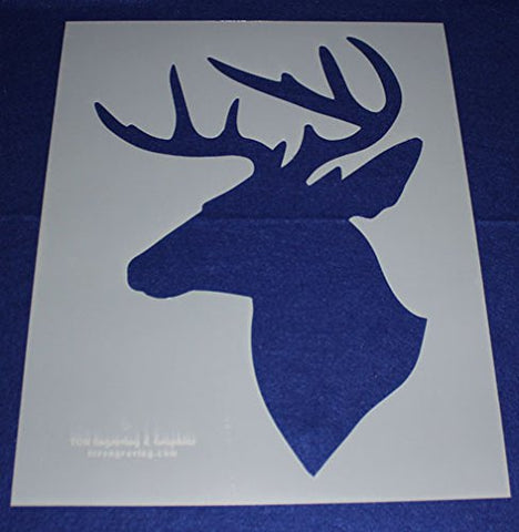 "Buck-Deer Head Stencil S-Mylar 14 Mil 17.5""H X 14""W - Painting /Crafts/ Templates"