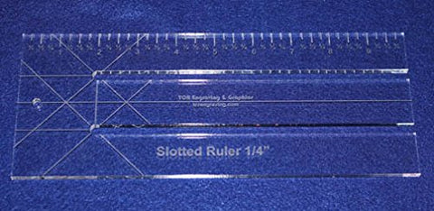 "10"" Slotted-Ruler - 1/4"" Slots - Acrylic ~1/4"" thick. Quilting/Sewing/Template"