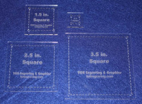 "Square Half Size Templates. .5"", 1.5"", 2.5"", 3.5"" - Clear 1/8"""