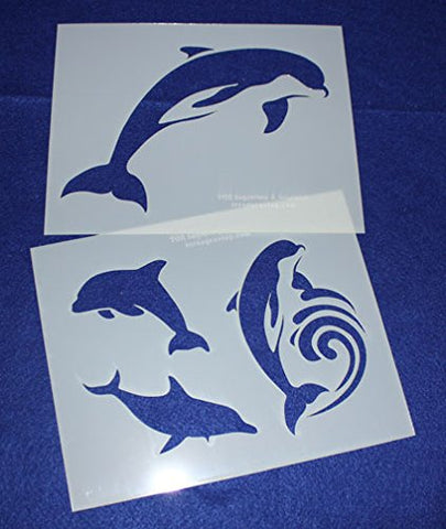 "Dolphin Stencils -Mylar 2 Pieces of 14 Mil 8"" X 10""- Painting /Crafts/ Templates"