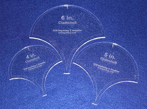 "Clamshell Templates. 4"", 5"", 6"". - Clear Acrylic ~1/4"""
