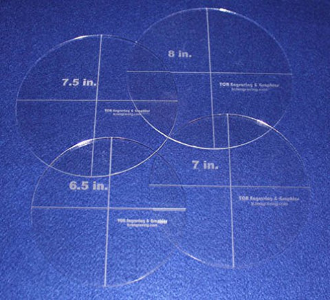"4 Piece Circle Set 6.5"", 7"", 7.5"", 8"" 1/8"" Acrylic - Quilting Templates"