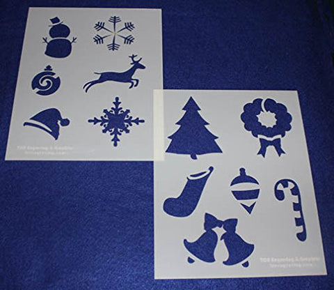 "Mylar 2 Pieces of 14 Mil 8"" X 10"" Holiday Stencils- Painting /Crafts/ Templates"
