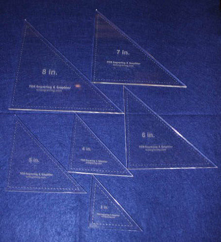 "Triangle Templates. 3"", 4"", 5"", 6"", 7"", 8"" - Clear ~1/4"""