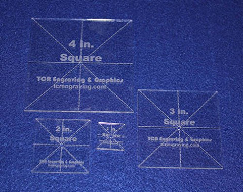"X-Square Templates. 1"", 2"", 3"", 4"". - Clear 1/8"" No Seam - Actual Size"