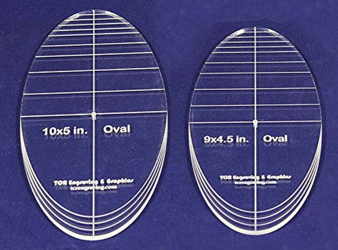 "Oval Quilt Templates 2 Piece Set. 9""-10"" - Multi Purpose 1/4"""