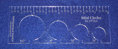 "4 Mini Circles Template for 1/2"" Foot - Clear with Ruler 1/4"" Thick"