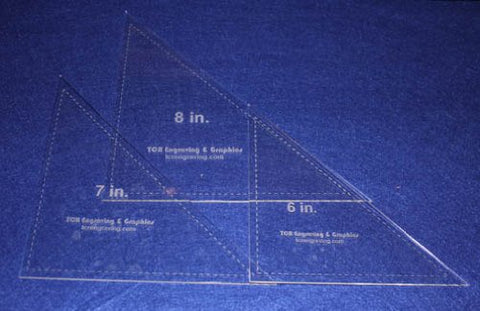 "Triangle Templates. 6"", 7"", 8"" - Clear 1/8"""