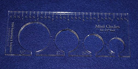 "4 Mini Circles Template for 1/2"" Foot - Clear with Ruler ~3/8"" Thick"