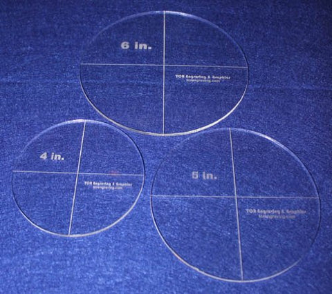 "Circle Template 3 Piece Set. 4"", 5"", 6"" - Clear 1/8"" Thick"