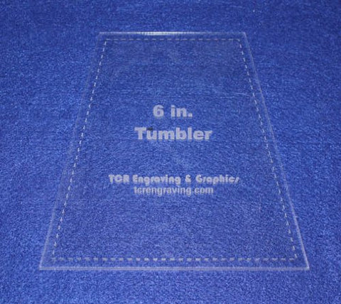 "6"" Tumbler Quilt Template - With Seam Allowance -Clear 1/8"" Acrylic"
