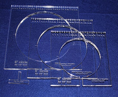 "3 Piece Inside Circle Set W/rulers ~3/8"" Thick - Long Arm- For 1/4"" Foot - Template"