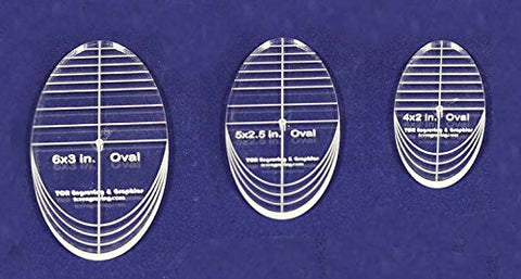"Oval Quilt Templates 3 Piece Set. 4"",5"",6""- Multi Purpose 1/4"""
