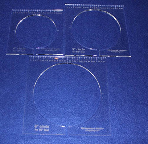 "3 Piece Inside Circle Set W/rulers ~1/4"" Thick - Long Arm- For 1/2"" Foot - Template"