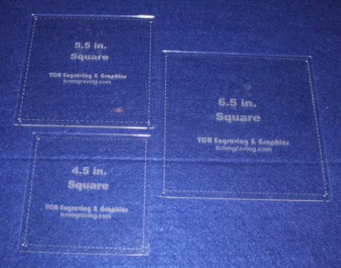"Square Half Size Templates. 4.5"", 5.5"", 6.5"" - Clear 1/8"""