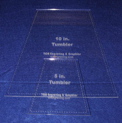 "5"" & 10"" Tumbler Set Quilt Template - With Seam Allowance -Clear 1/8 "" Acrylic"