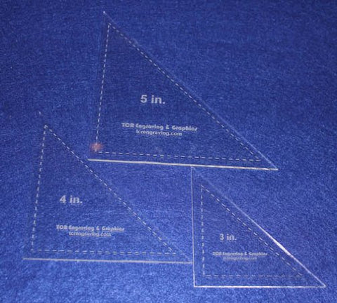 "Triangle Templates. 3"", 4"", 5"" - Clear 1/8"""