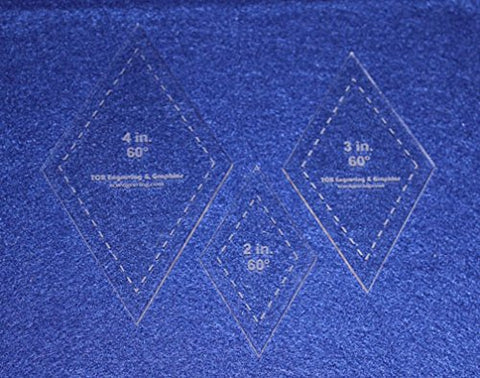 "Diamond Templates. 2"", 3"", 4"" - Clear 60 Degree 1/8"""