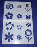 "Flower Stencils Mylar 2 Pieces of 14 Mil 8"" X 10"" - Painting /Crafts/ Templates"