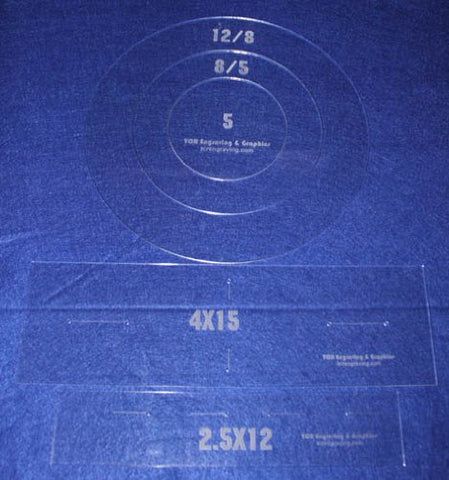 "Common Pillow/Fabric Templates. 5 Piece Round Set w/piping 1/8"" Acrylic"