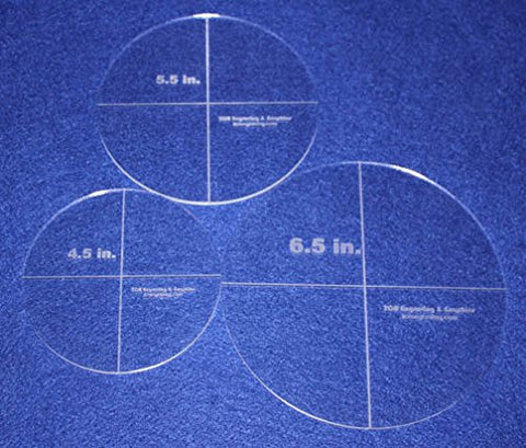 "Circle Template 3 Piece Set. 4.5"", 5.5"", 6.5"" - Clear 1/8"" Thick"