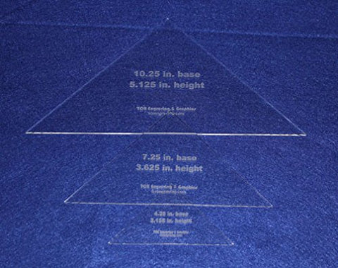Triangle Templates- 3 Piece Special Set- No Seam - Clear 1/8""