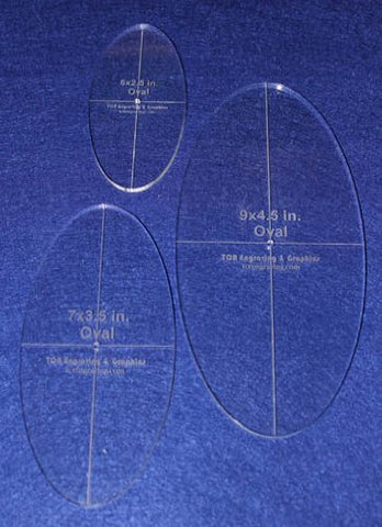"Oval Quilt Templates 3 Piece Set. 5"",7"",9"" - Clear 1/4"" Thick w/ Guidelines"