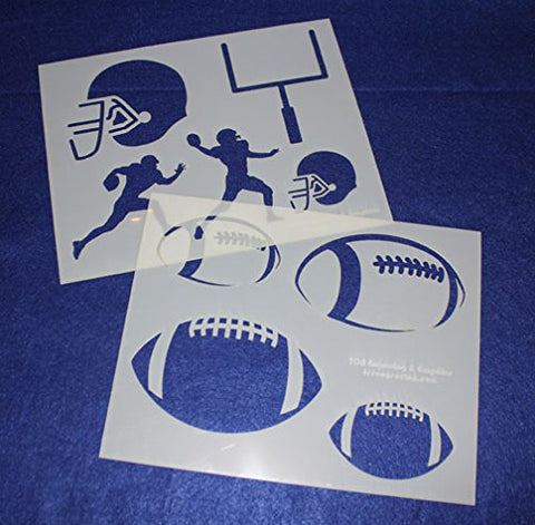 "Football Stencils Mylar 2 Pieces of 14 Mil 8"" X 10"" - Painting /Crafts/ Templates"