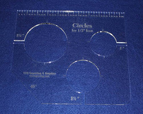 "3 Circles Template for 1/2"" Foot - Clear with Ruler 1/4"" Thick 2"", 2.5"", 3.5"""