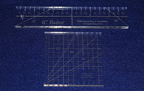 "2 Piece Ruler Set. 3"" Square & 6"" Long -Acrylic 1/4"" thick. Quilting/Sewing - Template"